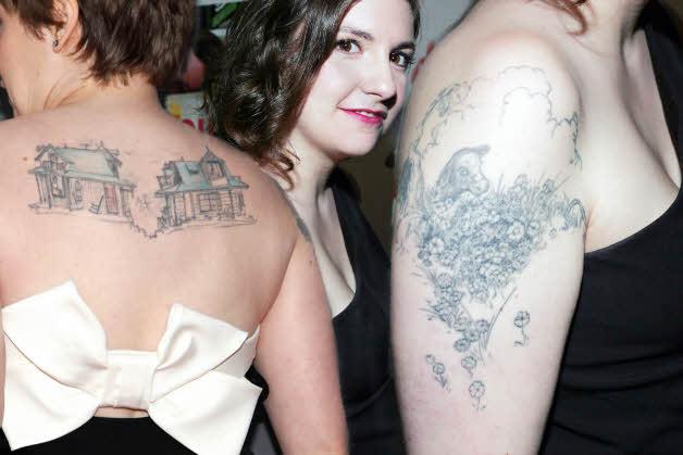 Lena Dunham back tattoo