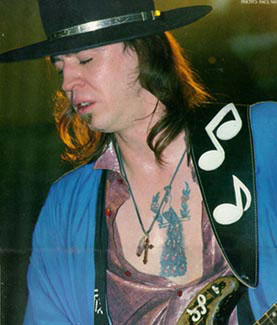 Stevie ray vaughan and his peacock tattoo celebrities for Stevie ray vaughan tattoo